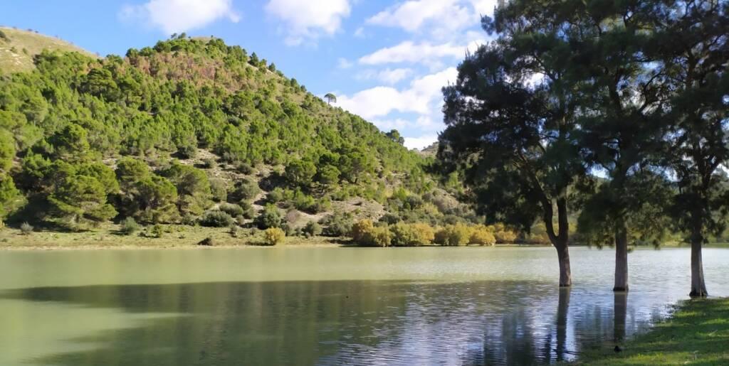 Lago Dirillo con alberi e collina