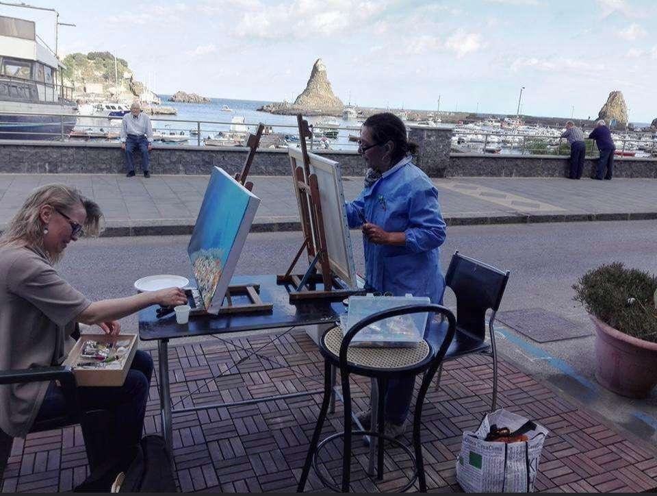 Lezione di pittura all'aperto
