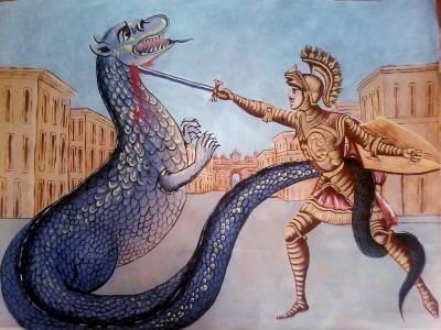 Guerriero che uccide un drago figura rappresentata su un carretto